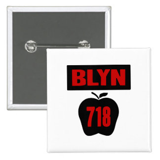 BLYN 718 Inside of Big Apple With Banner, 2 Color Button