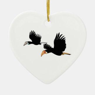 Blyth's Hornbill Birds - The Symbol of True Love Ceramic Heart Decoration