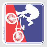 BMX Biker Red White and Blue Stickers