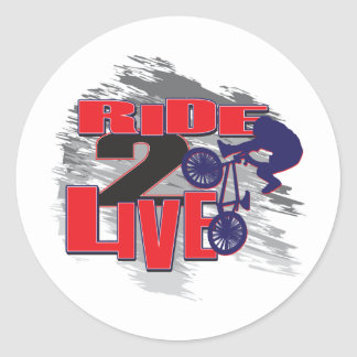 BMX Biker Ride to Live Round Sticker