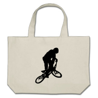 BMX Biker Silhouette Canvas Bags