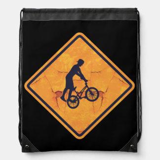 BMX caution sign Drawstring Bag