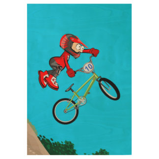 BMX extreme acrobatics in the air with the bicycle Wood Poster