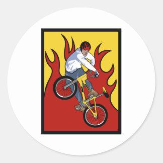 BMX Flames Classic Round Sticker