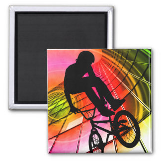 BMX in Lines Circles Refrigerator Magnet