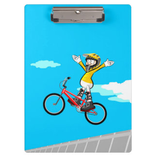 BMX loose young cycling of hands in its bicycle Clipboard