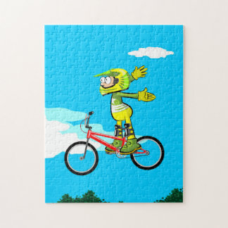 BMX loosen young cycling of hands in the air Jigsaw Puzzle