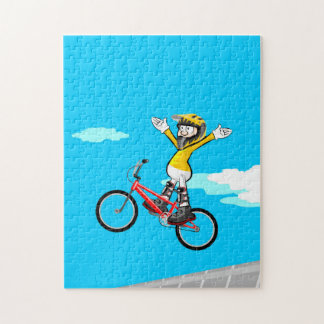 BMX loosen young extreme cycling of hands Jigsaw Puzzle