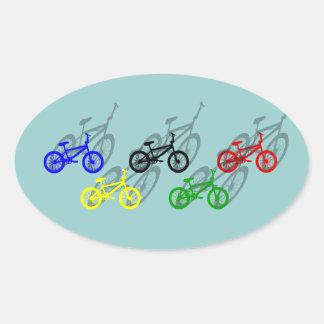 BMX rider bicyle cycling dirt track cyclist Oval Sticker
