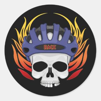 BMX Skull Round Stickers