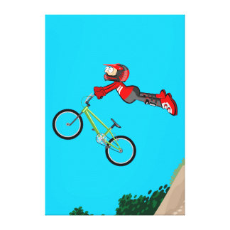 BMX young cycling flying by the air with its bike Canvas Print