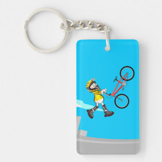 BMX young cycling flying with its bicycle Key Ring