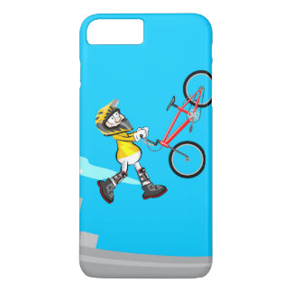 BMX young cycling making pirouettes in the air iPhone 8 Plus/7 Plus Case