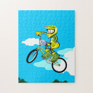 BMX young extreme cycling giving a great jump Jigsaw Puzzle