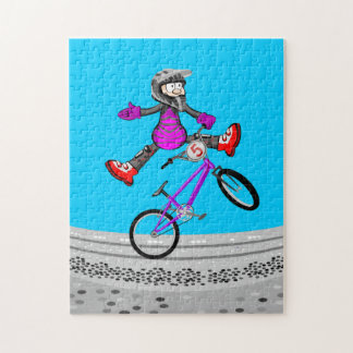 BMX young extreme cycling jumping by the air Jigsaw Puzzle