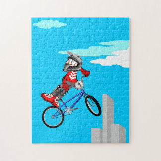 BMX young extreme cycling making pirouettes Jigsaw Puzzle
