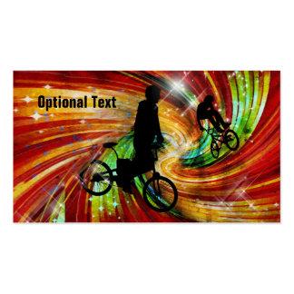 BMXers in Red and Orange Grunge Swirls Business Cards