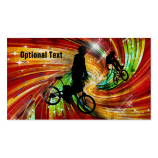 BMXers in Red and Orange Grunge Swirls Business Cards