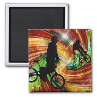 BMXers in Red and Orange Grunge Swirls Fridge Magnet