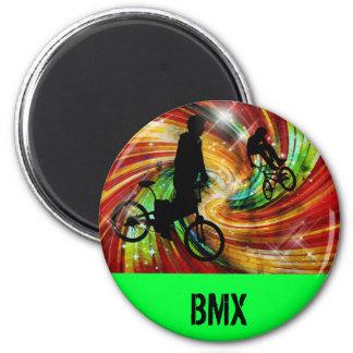 BMXers in Red and Orange Grunge Swirls Refrigerator Magnet