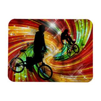 BMXers in Red and Orange Grunge Swirls Flexible Magnet
