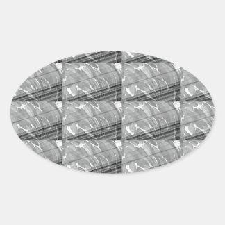bnw b&W Black n white Sparkle Wave Print FUN GIFTS Oval Sticker