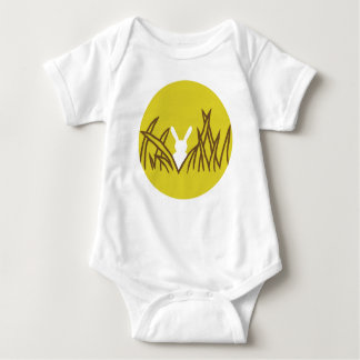 Bo muck with a reason of a rabbit in grasses baby bodysuit