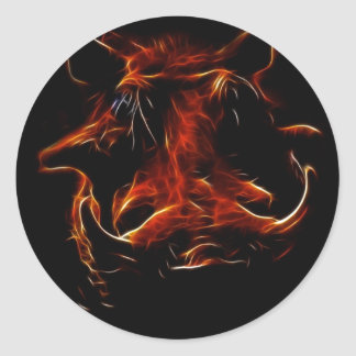Boar coming out of the dark round sticker