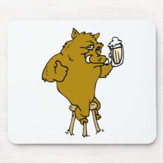Boar Drinking Beer Mousepads