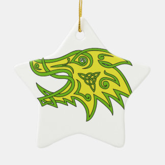 Boar Head Celtic Knot Ceramic Ornament