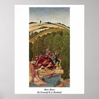 Boar Hunt By Frueauf D. J. Rueland Poster