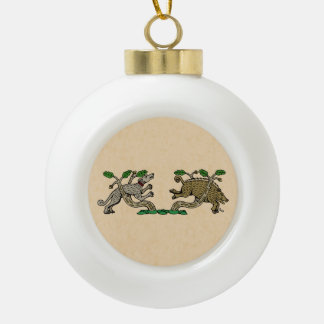 Boar Hunt Ceramic Ball Christmas Ornament