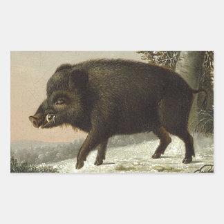 Boar Pig Vintage German Painting Rectangular Sticker