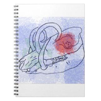 Boar skull watercolour red/blue notebook
