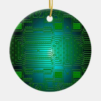 board conductors circuits round ceramic decoration