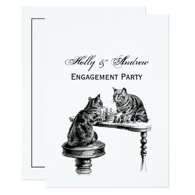 board games  two cats playing a chess match invitation