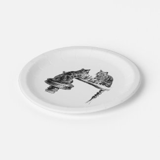 Board Games: Two Cats playing a Chess Match Paper Plate