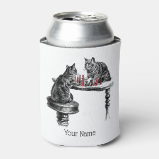 Board Games Two Cats playing Chess Match Red Can Cooler