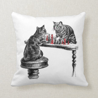 Board Games Two Cats playing Chess Match Red Cushion