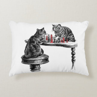 Board Games Two Cats playing Chess Match Red Decorative Cushion