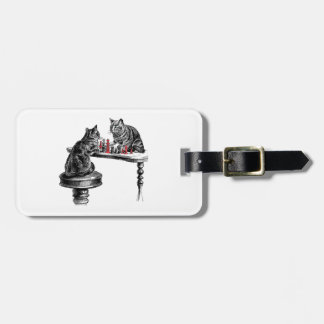 Board Games Two Cats playing Chess Match Red Luggage Tag