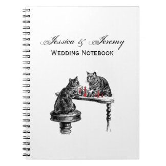 Board Games Two Cats playing Chess Match Red Notebooks