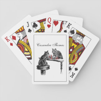 Board Games Two Cats playing Chess Match Red Playing Cards