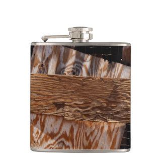 Boarded Up Old Wooden House Window Hip Flask