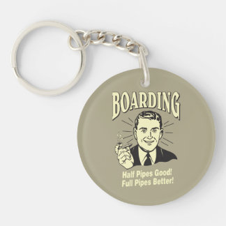 Boarding:Half Pipe's Good Full Better Double-Sided Round Acrylic Key Ring