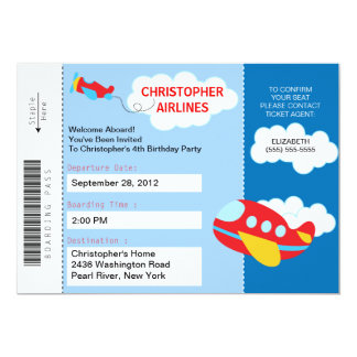 Boarding Pass Aeroplane  Birthday Party Invitation
