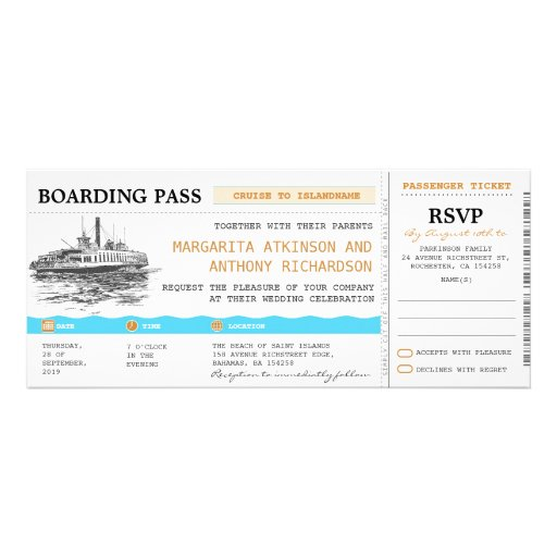 boarding pass cruise wedding invites with RSVP