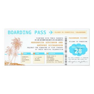 boarding pass destination wedding tickets card