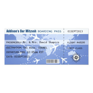 Boarding Pass Placecard 10 Cm X 24 Cm Invitation Card