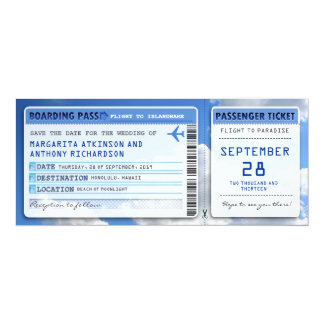 boarding pass save the date tickets with sky cloud card